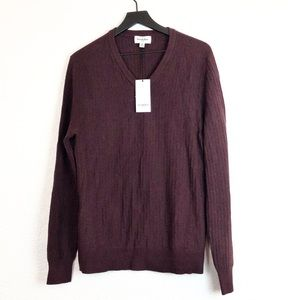 Goodfellow Thin Knit Sweater V Neck Burgundy M